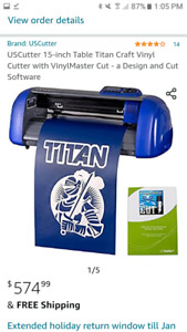 15 Titan Vinyl Plotter Including Software And Pre Loaded Working Pc Monitor