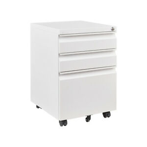White File Cabinet With Wheels 3 Drawer File Cabinet Filling Cabinet Mobile