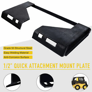 1 2 Thick Skidsteer Quick Tach Mount Plate Adapter Attachment Heavy duty