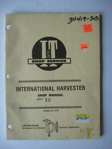 I t Shop Service Tractor Manual Ih 49 International 274 284