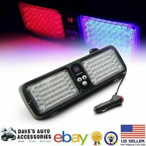 86 led Red Blue Windshield Visor Emergency Light W Suction Cups Fast Ship