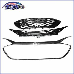 3pcs Front Upper Grille Lower Grille Chrome Fits 2019 2020 Chevrolet Malibu