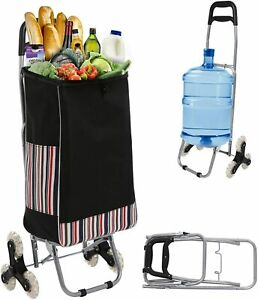 Folding Shopping Climbing Trolly Cart Stairs Climber Waterproof Grocery Laundry_