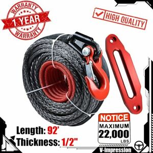 Synthetic Winch Rope 92 X 1 2 22000lbs Clevis Hook Hawse Fairlead Red Kit