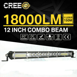 12inch Combo Cree Led Work Light Bar Spot Flood Driving Offroad Suv Utv Atv Boat