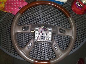 2003 2006 Cadillac Escalade Steering Wheel With Controls Leather Wood Grain 2004