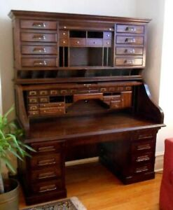 Vintage National Mt Airy Roll Top Desk W Hutch