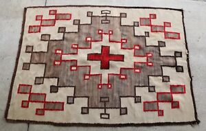 Antique Large 66 X 48 Warm Native Navajo Rug Ca1920s