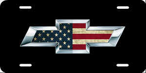 Chevy American Flag Logo Black License Plate New Car Tag Metal Black Usa
