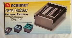 Acrimet 3 X 5 Card File Holder Organizer Metal Base Heavy Duty a z Index Cards
