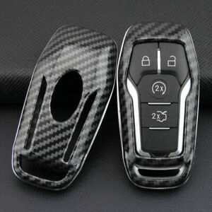 Carbon Fiber Hard Smart Key Cover Accessories Chain Case Fit For Ford Lincoln