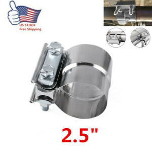 2 5 Stainless Steel Lap Joint Exhaust Clamp For Catback Muffler Downpipe T304