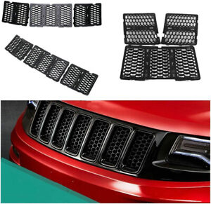 Mesh Front Grill Grille Inserts Cover Kit For Jeep Grand Cherokee 2014 2016 T
