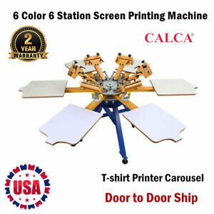 Calca 6 Color 6 Station Screen Printing Machine Press T shirt Printer Carousel