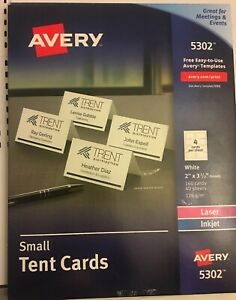 Avery 5302 Small Tent Cards Inkjet laser 160 Cards