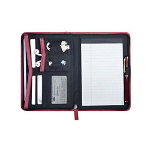 Godery Padfolio portfolio Leather Zippered Padfolio Portfolio Binder 5 X 8 Pad