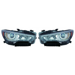 For Infiniti Q50 Headlight Halogen 2014 15 16 2017 Pair Rh And Lh Side In2502157