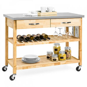 Kitchen Island Utility Cart Portable With Stainless Steel Countertop Natural New