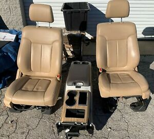 11 12 13 14 Ford F150 Driver passenger Front Seat Set W Console Tan Leather Oem