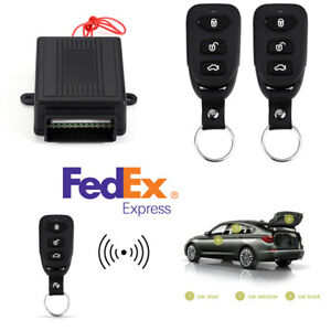 Black Car Keyless Entry Remote Controllers X2 Door Lock Security Alarm System Us
