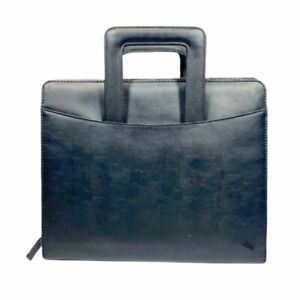 Black Synthetic Leather 3 Ring Binder Portfolio Briefcase Handles 10in X 13in