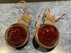 2 vintage Red Glass Beehive Lens Assembly Bullet Lamp Marker Light Rat Rod
