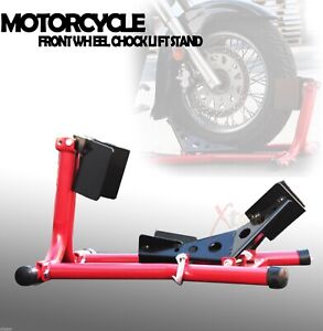 Front Wheel Chock Lift Stand 4 Trailering Motorcycle Sport Bikes Cruisers