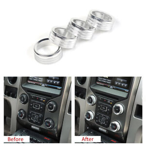Air Conditioner Audio Switch Knob Ring Cover Trim For Ford F150 2013 2014 T