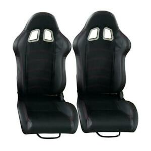 Universal Left Right New 2 Pcs Black Pvc Racing Seats Faux Leathe
