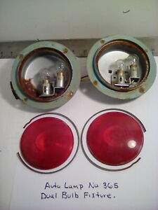 1 Lot Of 2 Vintage Auto Lamp No 365 Dual Bulb Trailer Tail Lights 6 Vdc Used