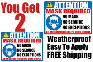 Mask Required Sign No Mask No Service English spanish Door Window Decal