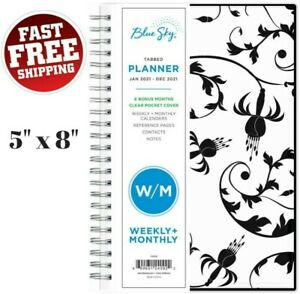 Weekly Monthly Planner 2021 Calendar Academic Notes Floral Cover Organizer Book