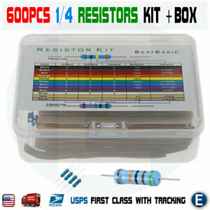 600pcs 30 Values 1 4w Metal Film Resistors Plastic Box Assortment Kit Set 1