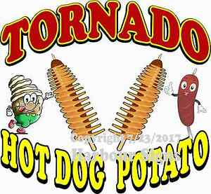 Tornado Hot Dog Potato Decal choose Your Size Food Truck Concession Sticker