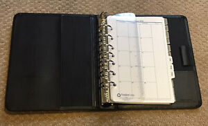 Franklin Quest Bonded Leather Black 7 Ring Classic Planner organizer W inserts