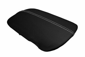 Ford Mustang Console Armrest Lid Cover Carbon Fiber For 2015 2020 White Stitch