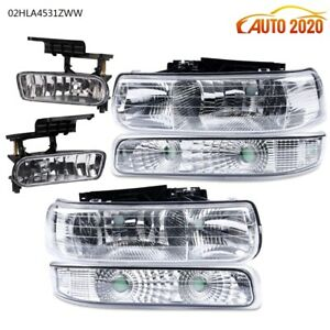 Headlights fog Lights For 1999 2002 Chevy Silverado 2000 2006 Tahoe Suburban New