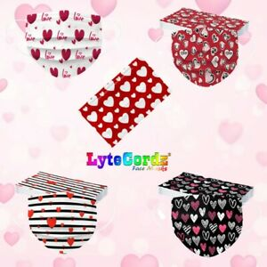 Face Mask Valentine s Day Heart Disposable Surgical 3 Ply Adult Size
