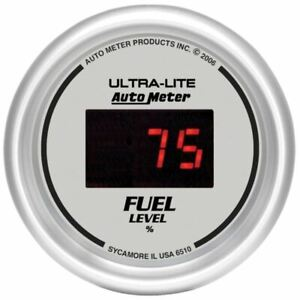 Autometer 6510 Gauge Fuel Level 2 1 16 0 280 Program Digital Silver Dial
