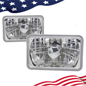4x6 Inch Clear Glass Lens Diamond Cut Chrome Crystal Semi Sealed Beam Headlight