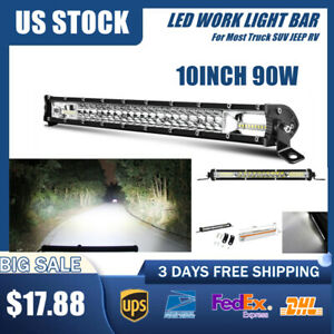 10inch 90w Led Light Bar Spot Flood Combo Work Suv Boat Driving Offroad Atv 4wd