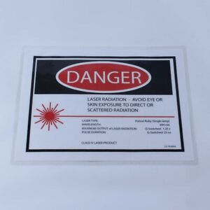Laser Room Safety Danger Warning Sign Q switched Pulsed Ruby 694 Nm 8 5x11 Inch