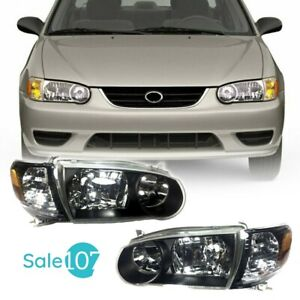 For 2001 2002 Toyota Corolla Headlights Housing Black With Lamps Corners Rh lh