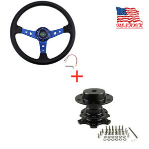 6 Hole Aluminum 13 5 Drifting Racing Steering Wheel Quick Release Adapter Blue
