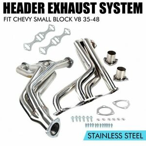 Stainless Fat Fender Well Exhaust Header Manifold Kit For Chevy Small Block V8