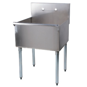 Commercial Utility Sink Stainless Steel Prep Hand Wash Tub 16 Gauge 24 x24 x14