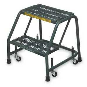 Ballymore 218xsu 19 In H Steel Rolling Ladder 2 Steps 450 Lb Load Capacity