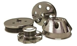 Sbc 350 Short Water Pump Serpentine Machined Aluminum Pulley Kit