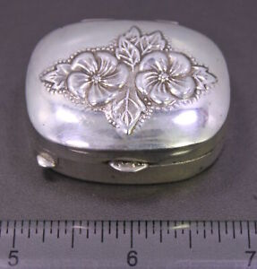Vintage Mervin S Sterling Silver Floral Repousse Hinged Round Trinket Pill Box