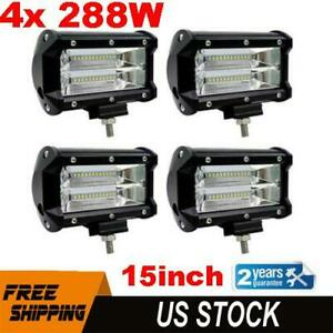 4pcs 5 Inch 288w Led Off Road Work Light Bar Spot Beam Flood Driving Fog Lamps